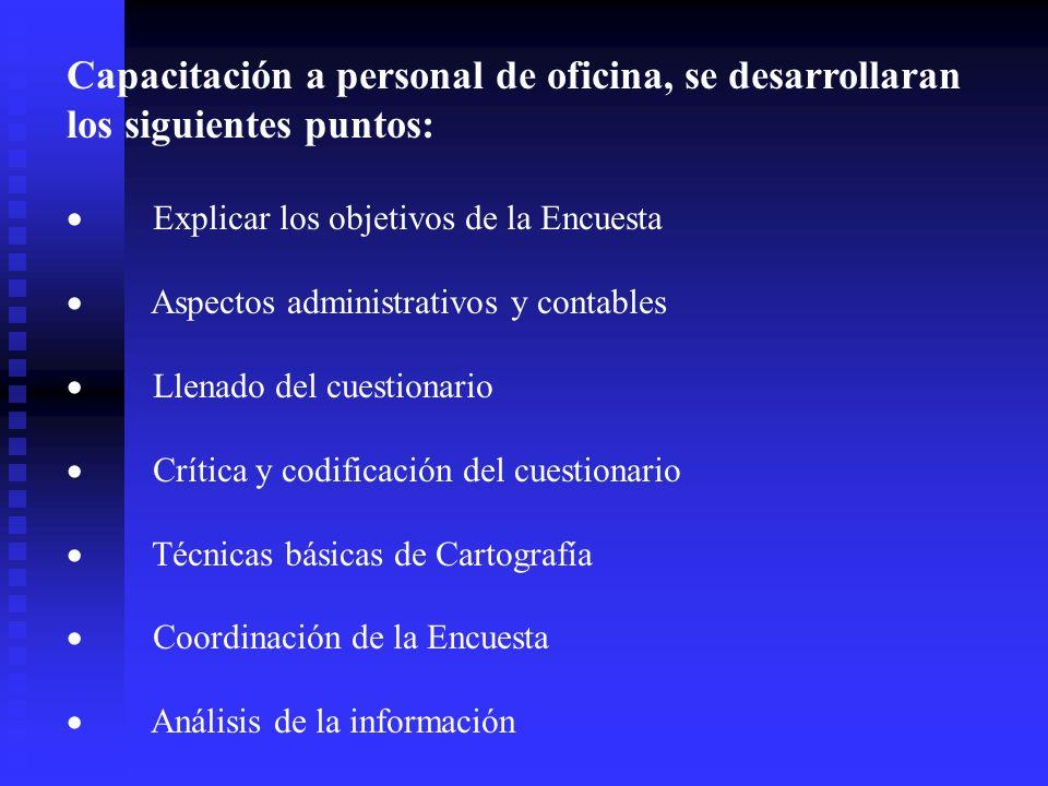 Capacitación a personal de oficina, se desarrollaran los siguientes puntos: