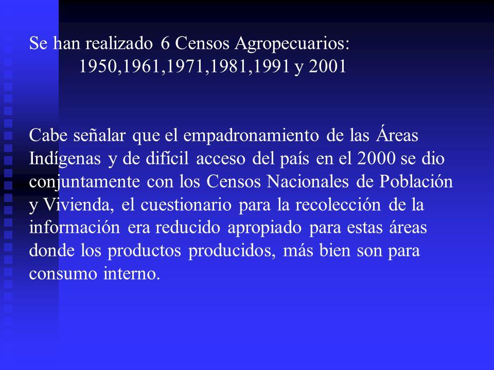 Se han realizado 6 Censos Agropecuarios: