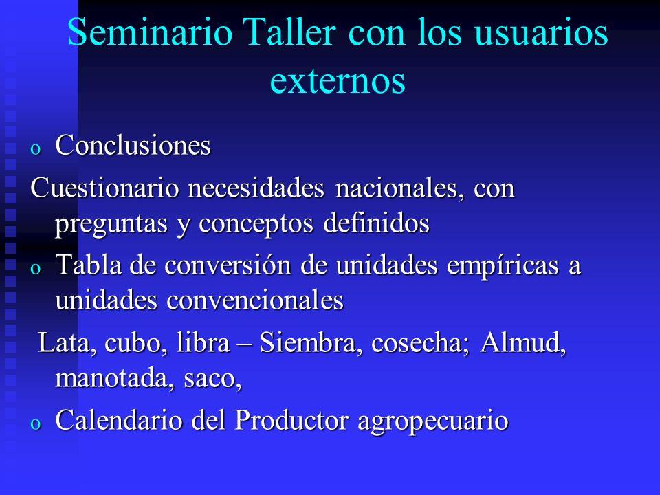 Seminario Taller con los usuarios externos
