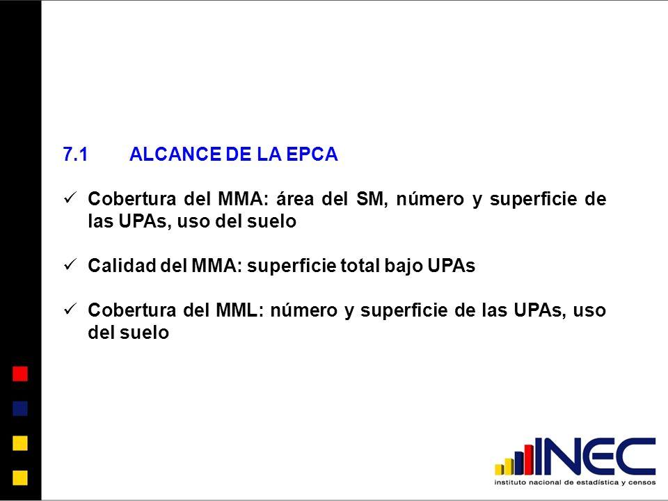 7.1 ALCANCE DE LA EPCA Cobertura del MMA: área del SM, número y superficie de las UPAs, uso del suelo.