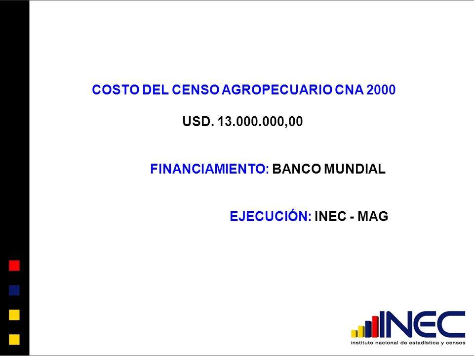 COSTO DEL CENSO AGROPECUARIO CNA 2000