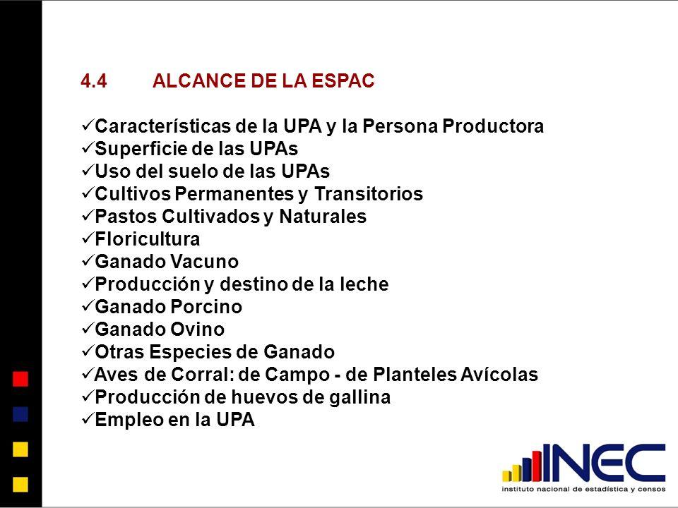 4.4 ALCANCE DE LA ESPAC Características de la UPA y la Persona Productora. Superficie de las UPAs.