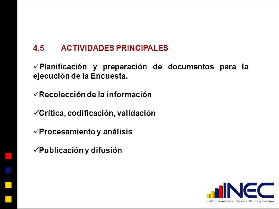 4.5 ACTIVIDADES PRINCIPALES