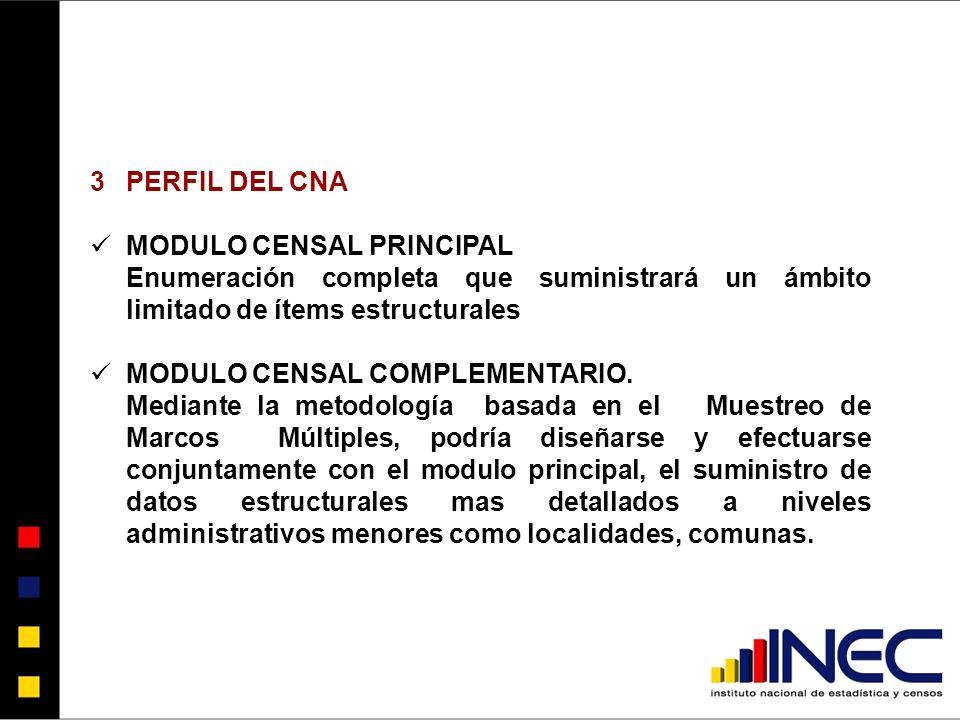 PERFIL DEL CNA MODULO CENSAL PRINCIPAL. Enumeración completa que suministrará un ámbito limitado de ítems estructurales.