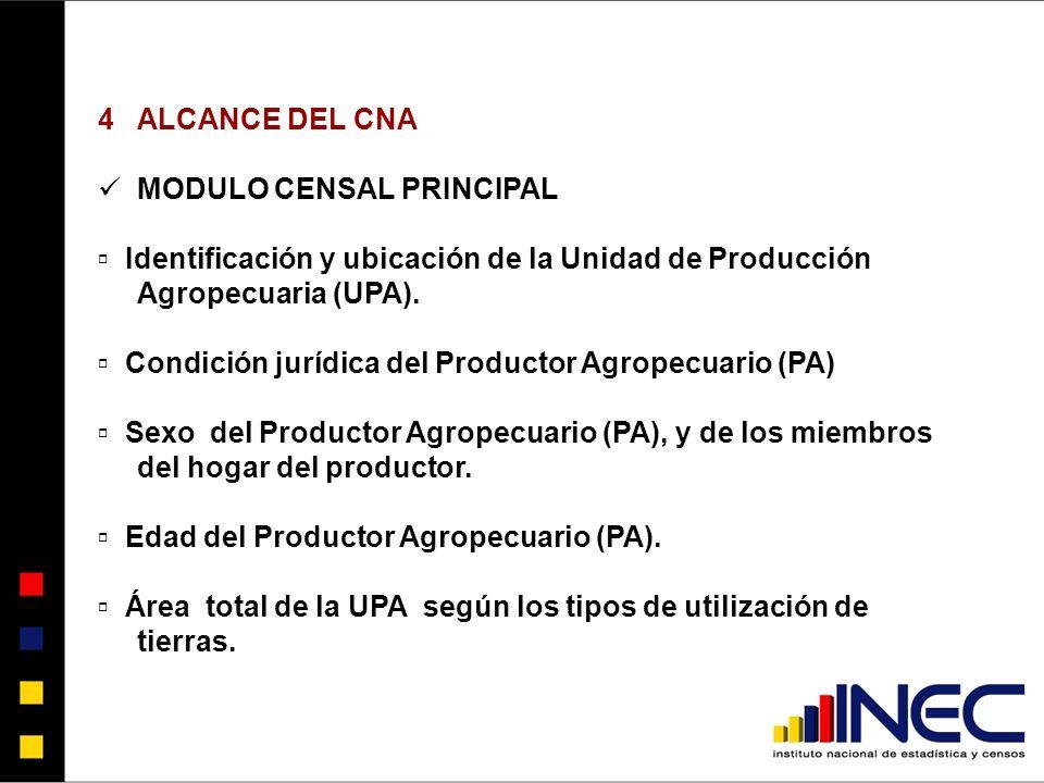 ALCANCE DEL CNA MODULO CENSAL PRINCIPAL. ▫ Identificación y ubicación de la Unidad de Producción Agropecuaria (UPA).