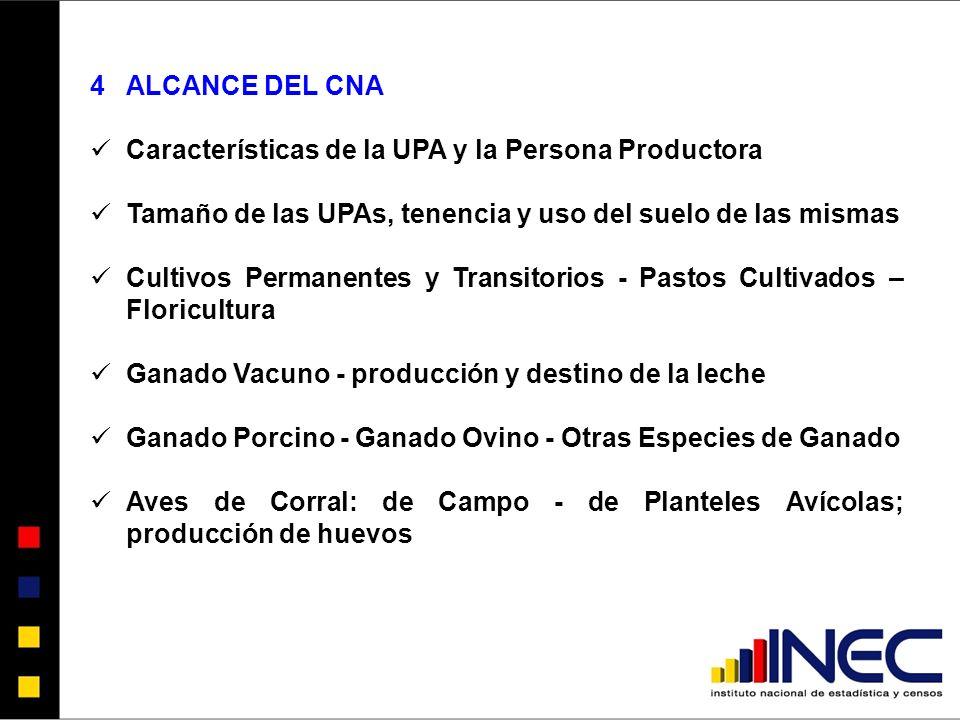 ALCANCE DEL CNA Características de la UPA y la Persona Productora. Tamaño de las UPAs, tenencia y uso del suelo de las mismas.