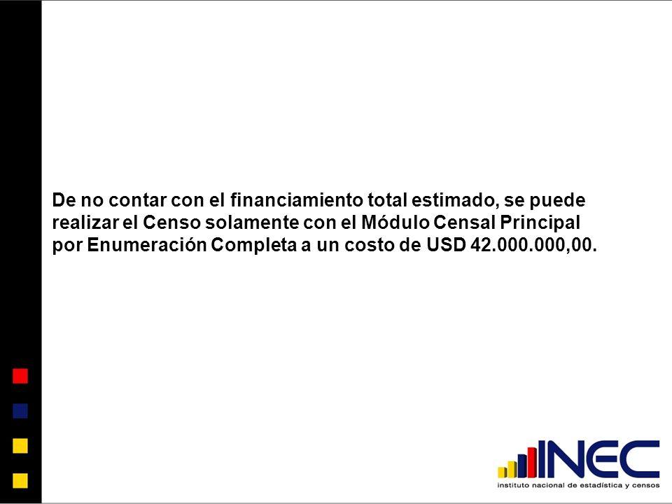 De no contar con el financiamiento total estimado, se puede realizar el Censo solamente con el Módulo Censal Principal por Enumeración Completa a un costo de USD 42.000.000,00.