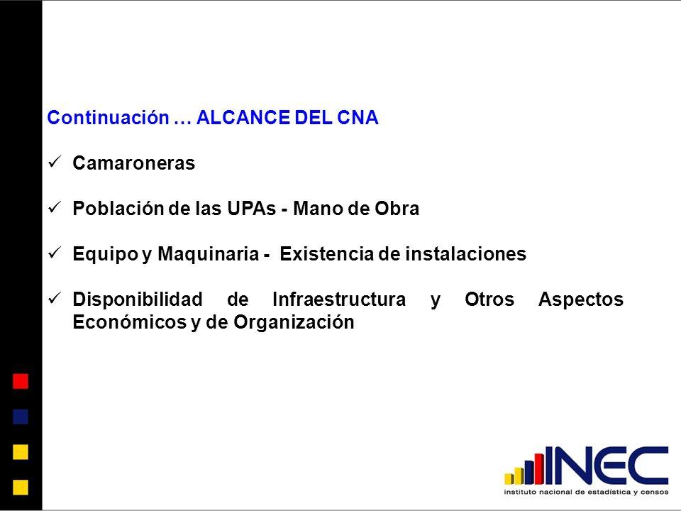 Continuación … ALCANCE DEL CNA