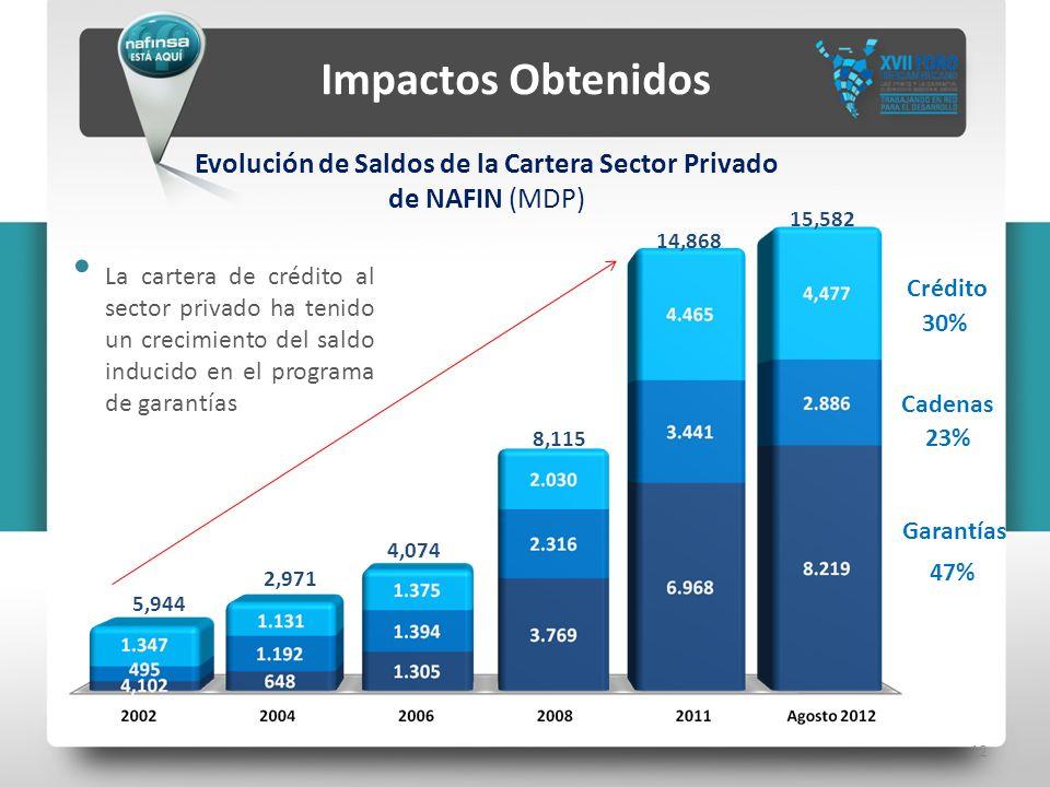 Evolución de Saldos de la Cartera Sector Privado de NAFIN (MDP)
