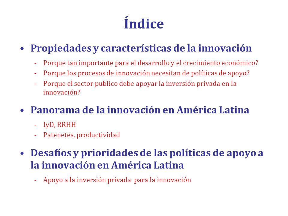 Índice Propiedades y características de la innovación