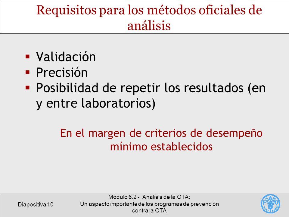 Requisitos para los métodos oficiales de análisis