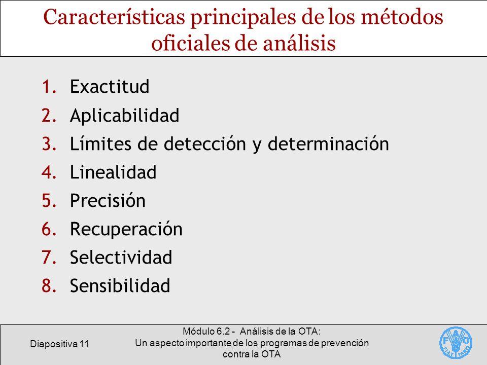 Características principales de los métodos oficiales de análisis