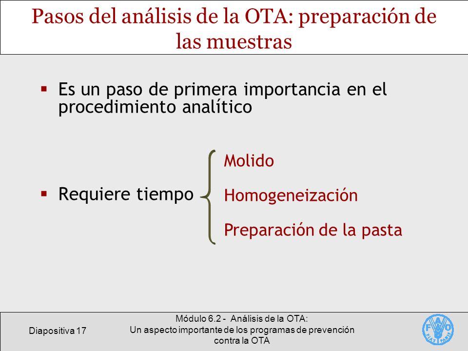 Pasos del análisis de la OTA: preparación de las muestras