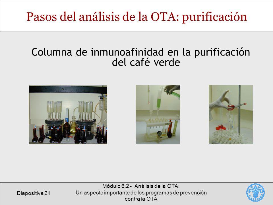 Pasos del análisis de la OTA: purificación