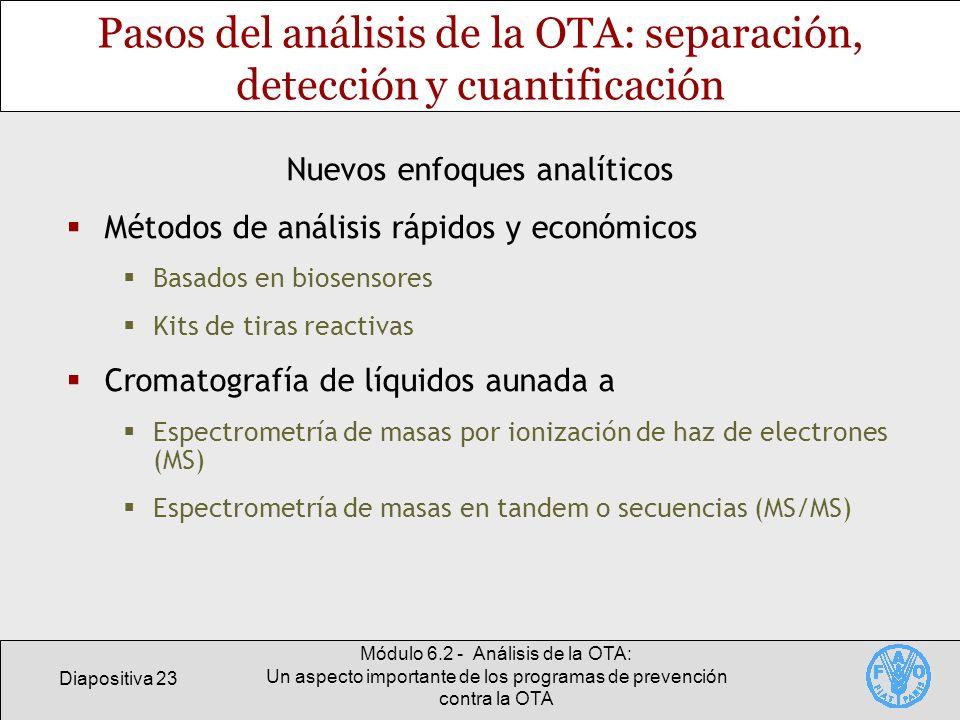 Pasos del análisis de la OTA: separación, detección y cuantificación
