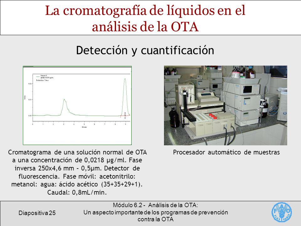 La cromatografía de líquidos en el análisis de la OTA