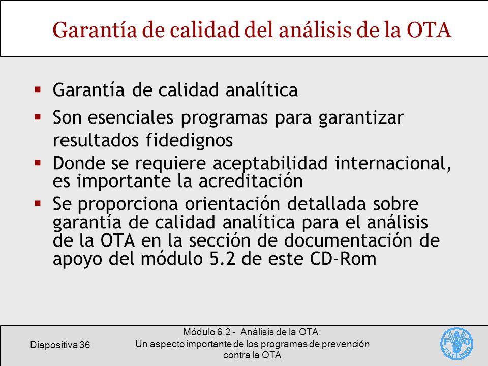 Garantía de calidad del análisis de la OTA