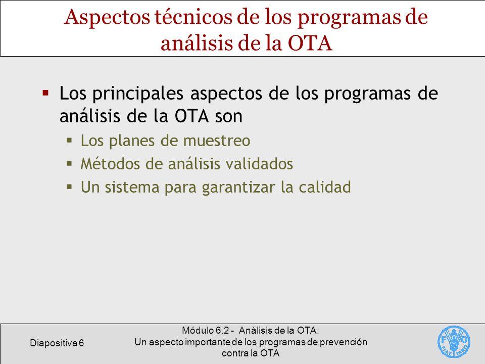 Aspectos técnicos de los programas de análisis de la OTA