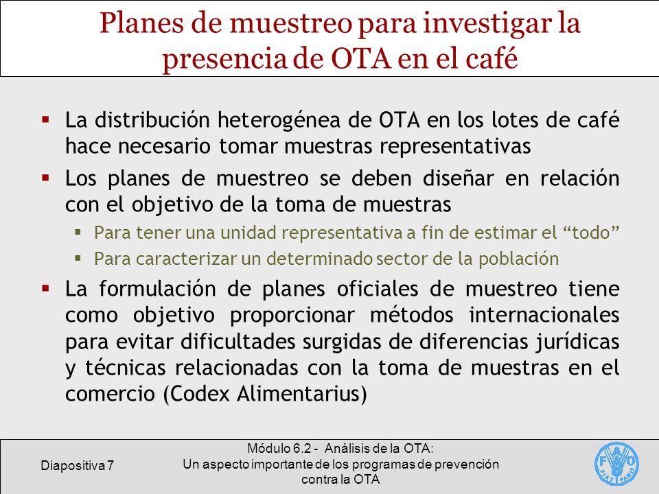 Planes de muestreo para investigar la presencia de OTA en el café