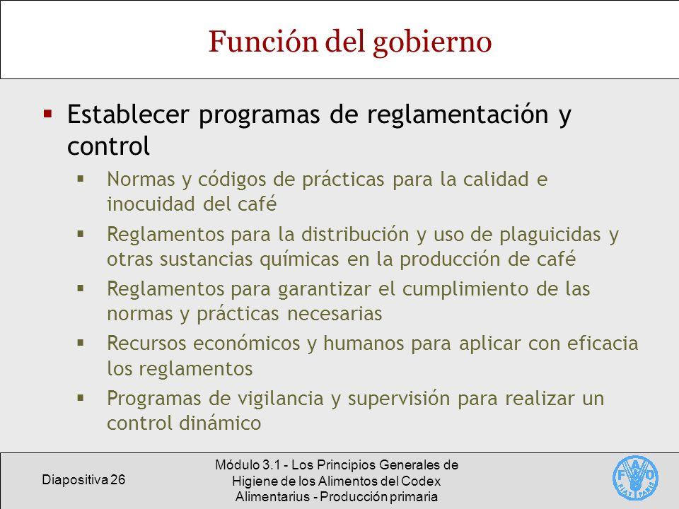 Función del gobierno Establecer programas de reglamentación y control