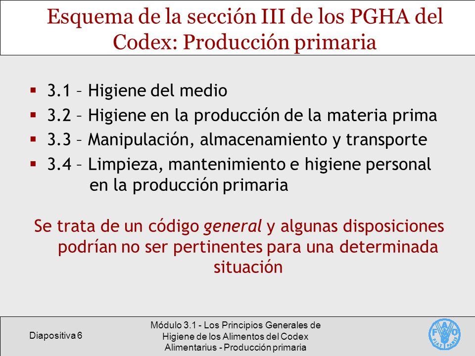 Esquema de la sección III de los PGHA del Codex: Producción primaria