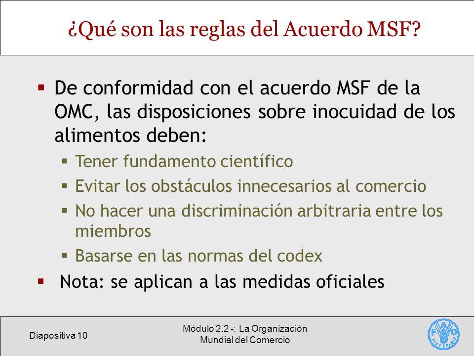 ¿Qué son las reglas del Acuerdo MSF
