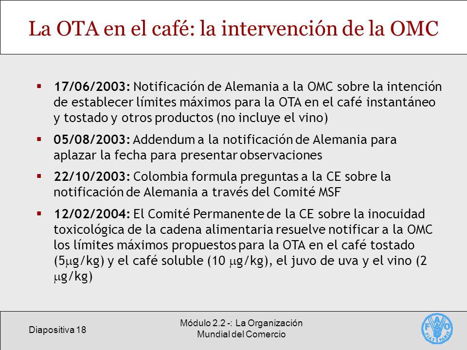 La OTA en el café: la intervención de la OMC
