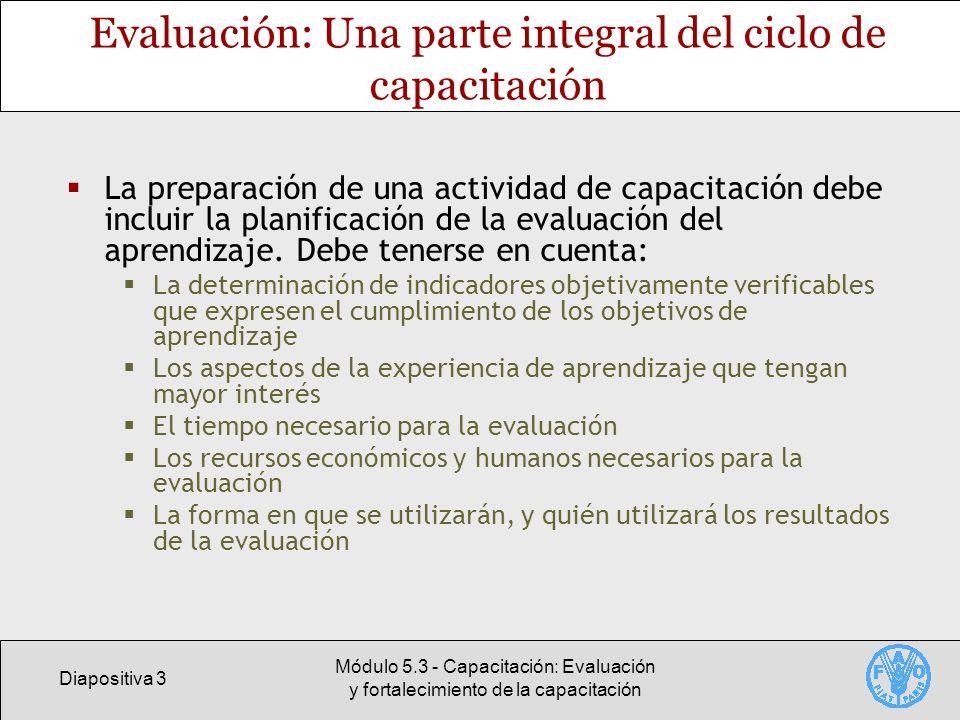 Evaluación: Una parte integral del ciclo de capacitación