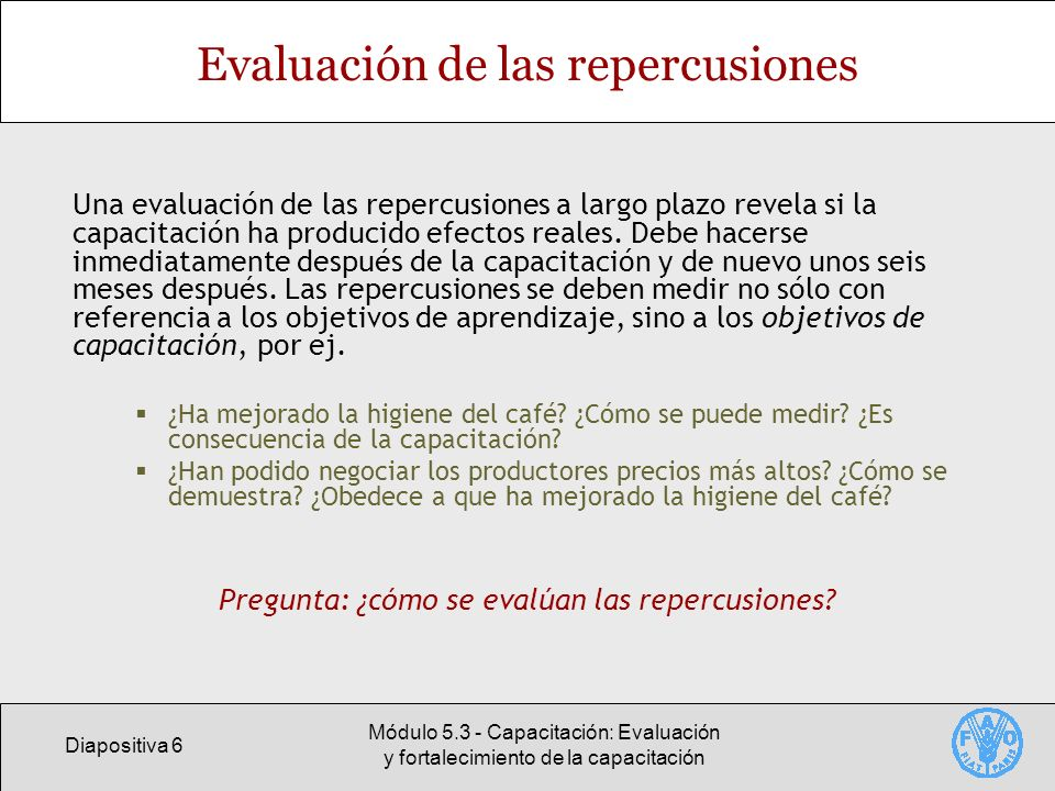 Evaluación de las repercusiones