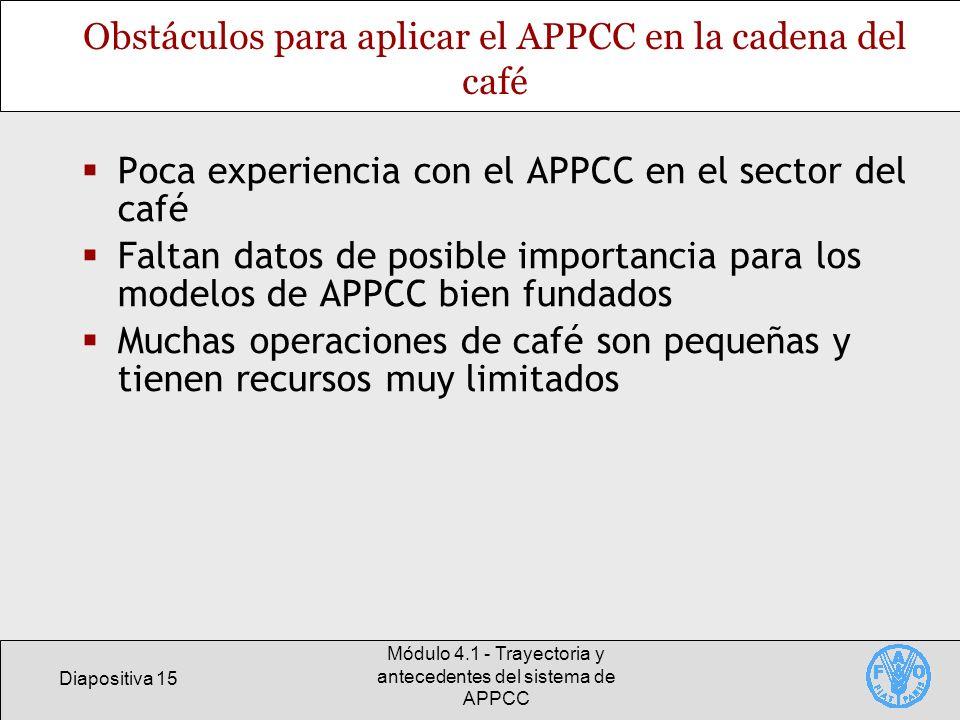 Obstáculos para aplicar el APPCC en la cadena del café