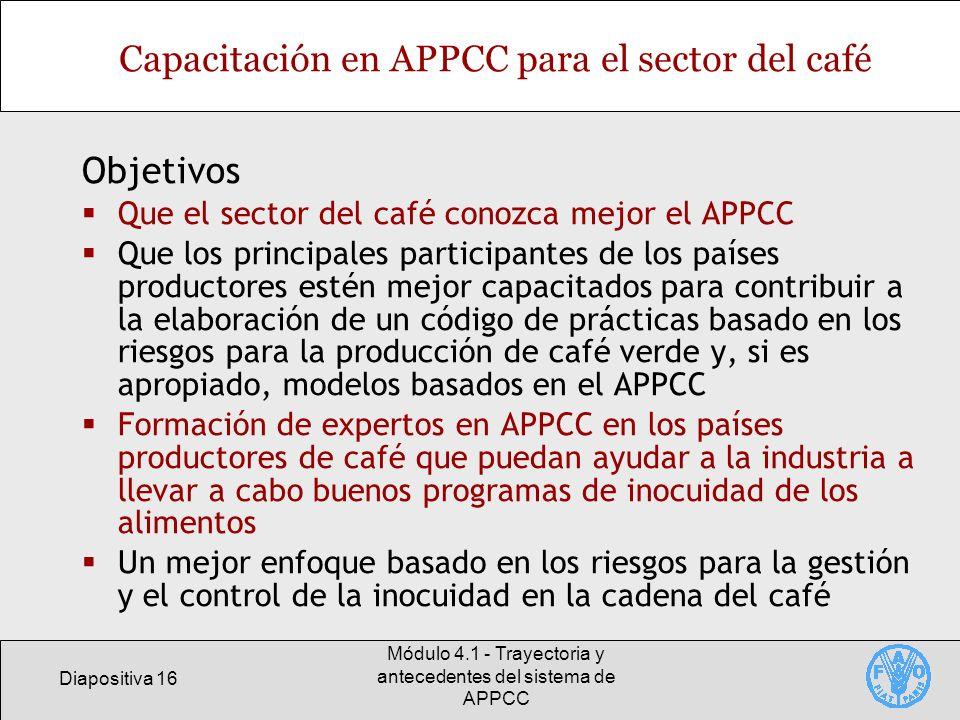 Capacitación en APPCC para el sector del café