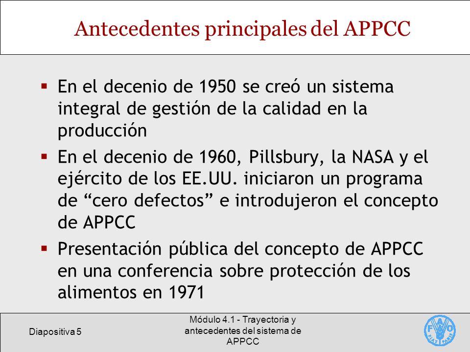 Antecedentes principales del APPCC