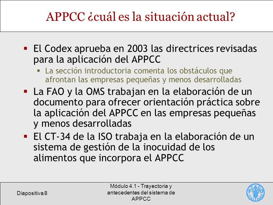 APPCC ¿cuál es la situación actual