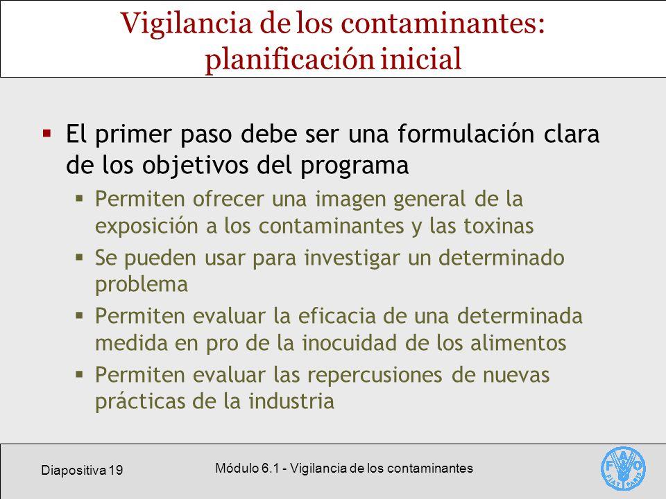 Vigilancia de los contaminantes: planificación inicial
