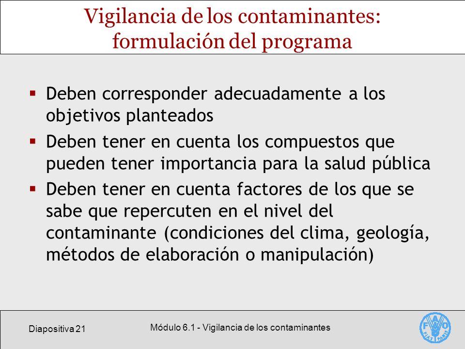 Vigilancia de los contaminantes: formulación del programa