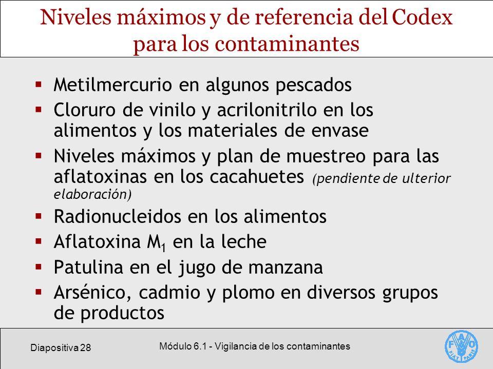 Niveles máximos y de referencia del Codex para los contaminantes