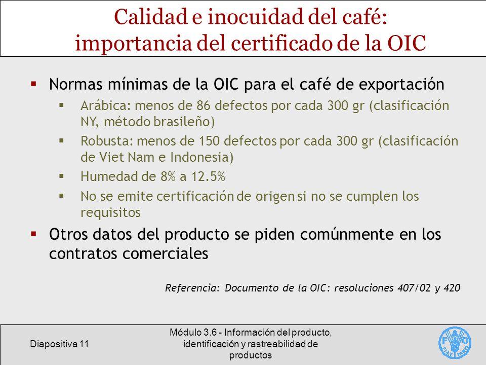 Calidad e inocuidad del café: importancia del certificado de la OIC