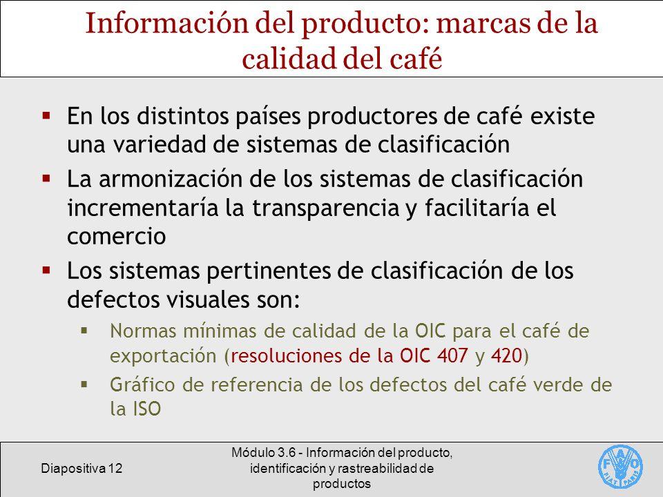 Información del producto: marcas de la calidad del café