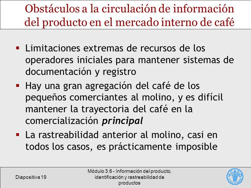 Obstáculos a la circulación de información del producto en el mercado interno de café