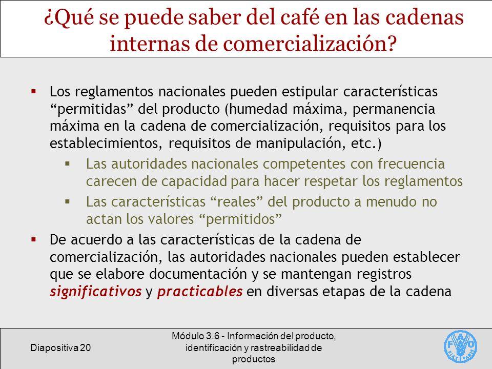 ¿Qué se puede saber del café en las cadenas internas de comercialización