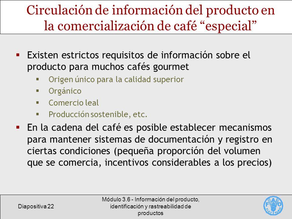 Circulación de información del producto en la comercialización de café especial