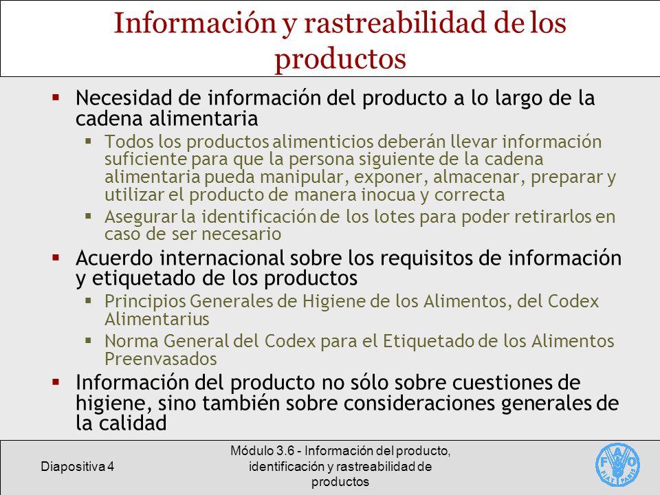 Información y rastreabilidad de los productos