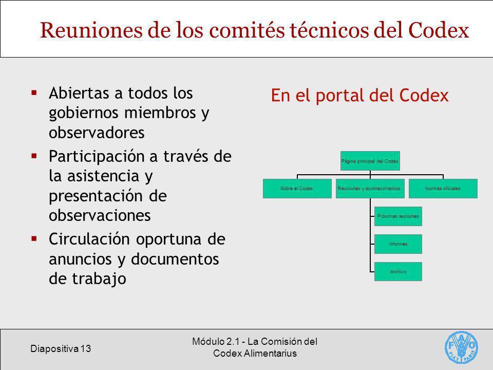 Reuniones de los comités técnicos del Codex