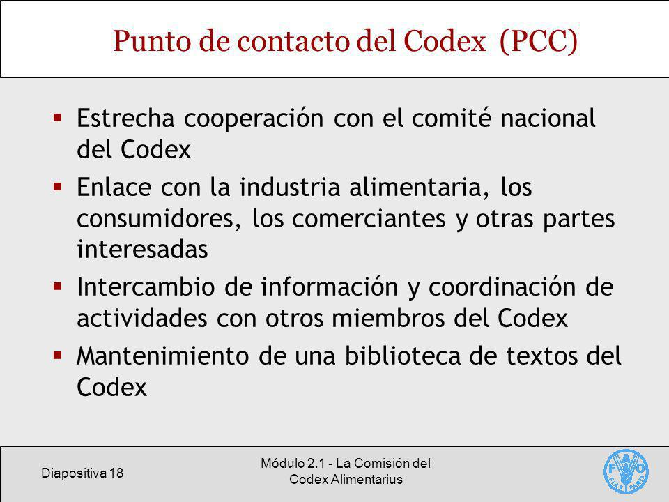 Punto de contacto del Codex (PCC)