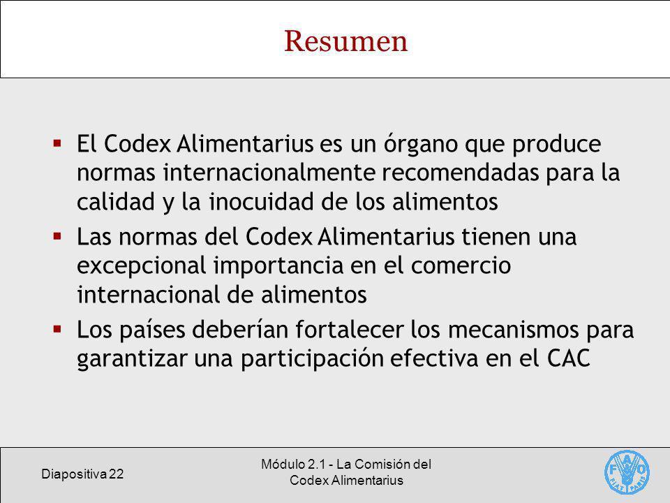 Módulo 2.1 - La Comisión del Codex Alimentarius