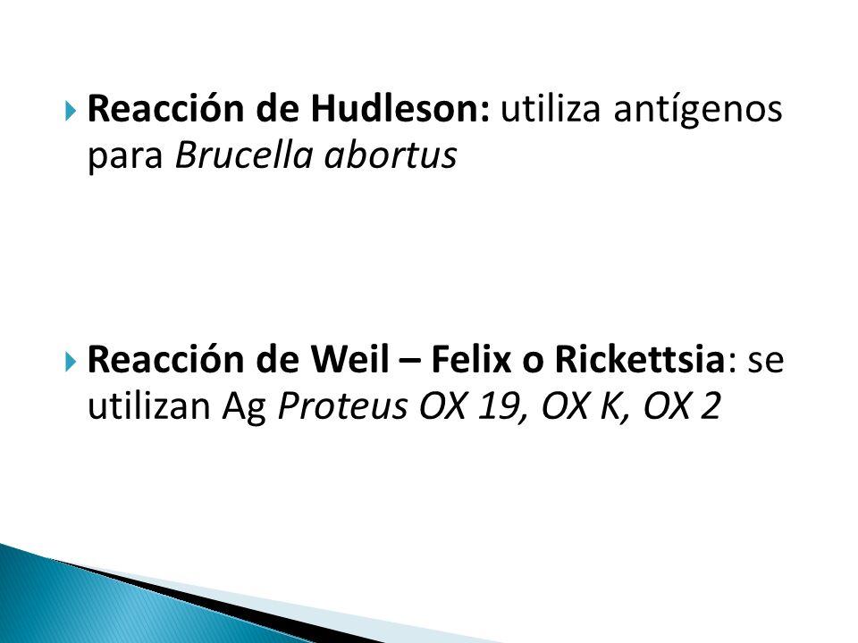 Reacción de Hudleson: utiliza antígenos para Brucella abortus