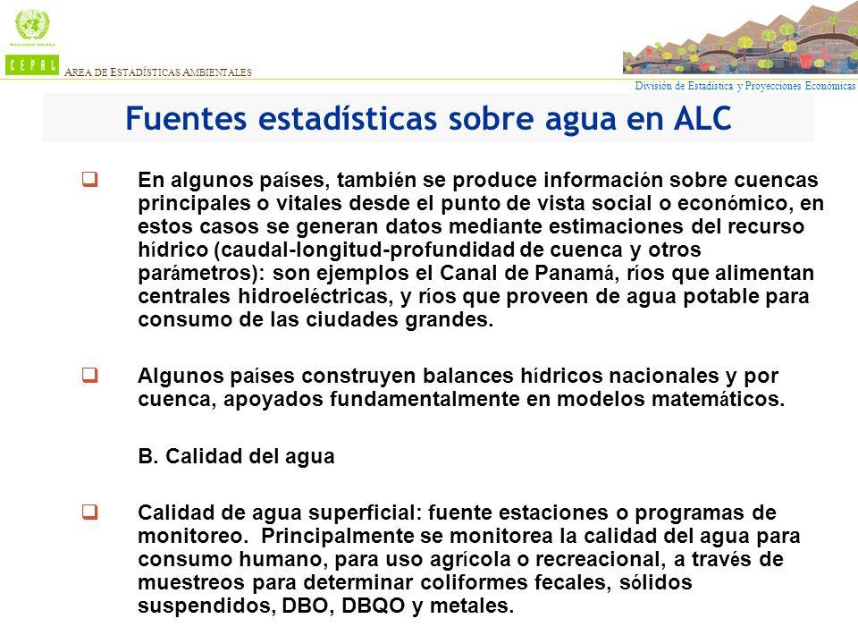 Fuentes estadísticas sobre agua en ALC