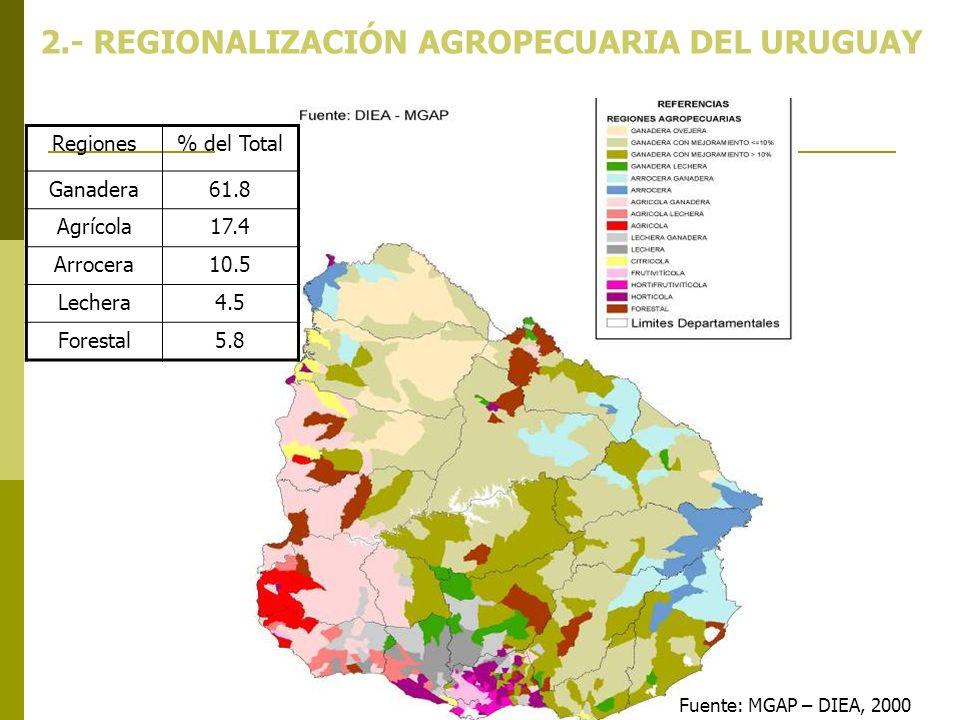 2.- REGIONALIZACIÓN AGROPECUARIA DEL URUGUAY