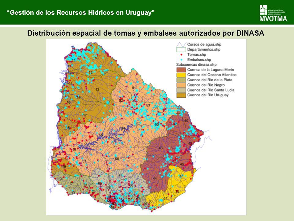 Distribución espacial de tomas y embalses autorizados por DINASA