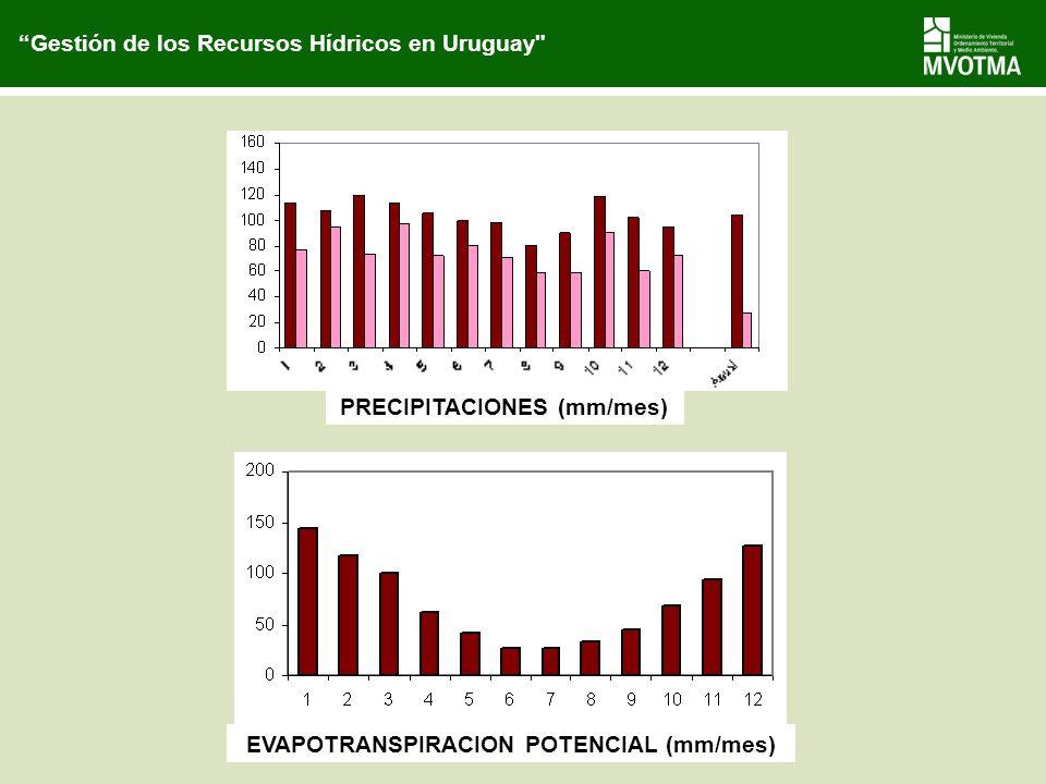PRECIPITACIONES (mm/mes) EVAPOTRANSPIRACION POTENCIAL (mm/mes)